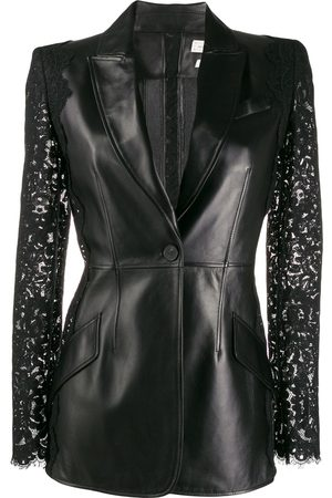 Alexander McQueen Lace sleeve leather jackets