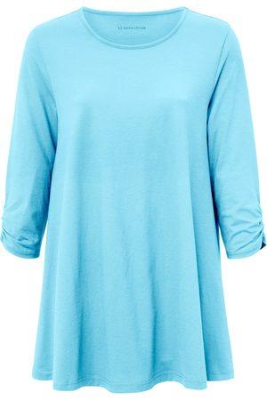Green Cotton Lang shirt 3/4-mouwen turquoise