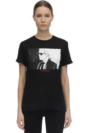 Karl Lagerfeld Dames T-shirts - Printed Cotton Jersey T-shirt