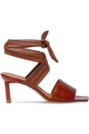 Ganni 45mm Croc Embossed Leather Sandals