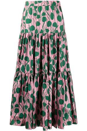 La DoubleJ Moses Rosa print flared skirt