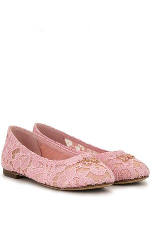 Dolce & Gabbana Crystal-embellished lace ballerina shoes