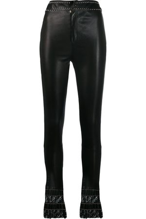 Philipp Plein Leather flare trousers