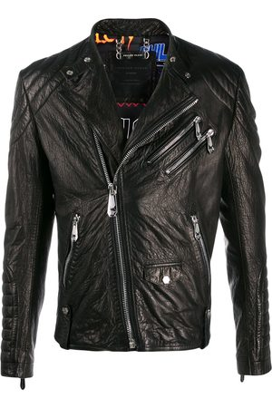 Philipp Plein Embellished leather biker jacket