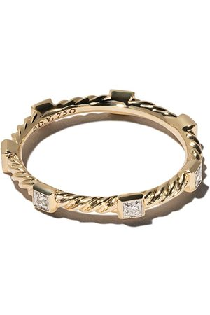 David Yurman 18kt yellow gold Cable Collectibles Cable diamond stack ring