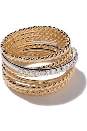 David Yurman Dames Ringen - 18kt yellow gold Crossover diamond wide ring