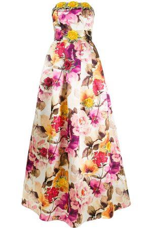 Philipp Plein Floral print strapless gown