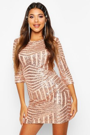 Boohoo Dames Glitterjurken - Boutique Bodycon Jurk Met Pailletten, Rosé