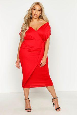 Boohoo Plus Bardot Wrap Front Belted Midi Dress