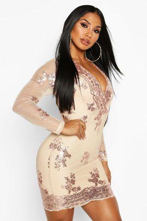Boohoo Boutique Sequin Print Mesh Bodycon Dress