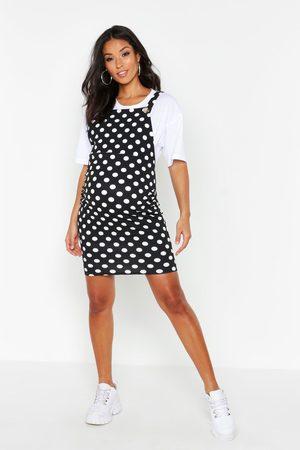 Boohoo Maternity Polka Dot Pinafore Dress