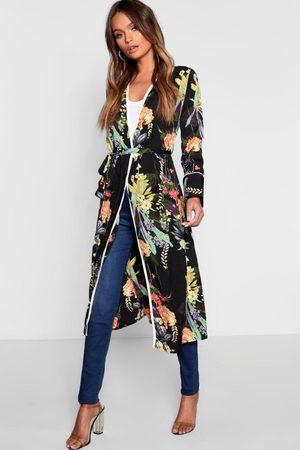 Boohoo Dark Tropical Floral Belted Kimono