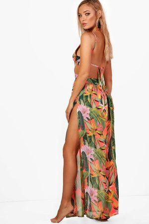 Boohoo Tropicana Cut Out Maxi Beach Dress