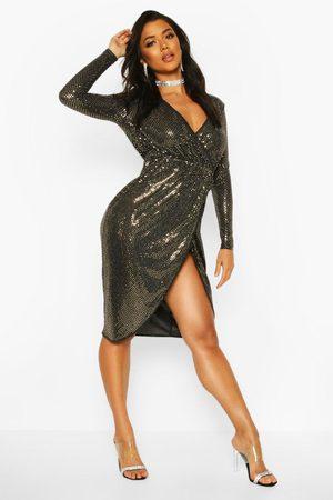 Boohoo Sequin Wrap Plunge Midi Dress