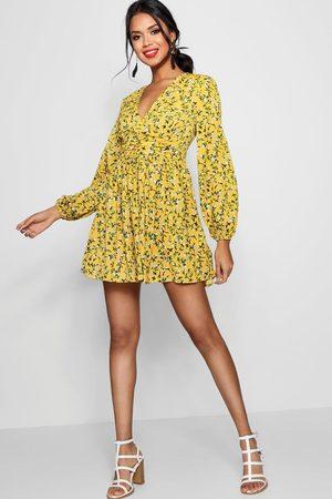 Boohoo Ruched Waist Floral Tea Dress