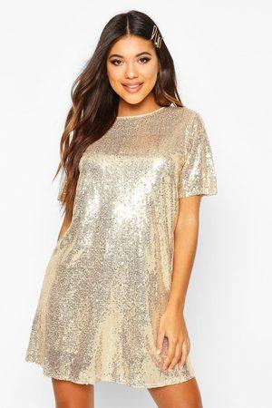 Boohoo Dames Glitterjurken - Boutique T-Shirt Jurk Met Pailletten