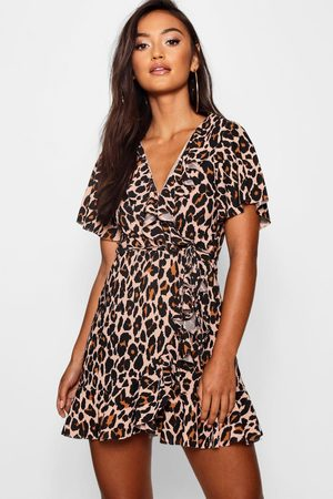 Boohoo Petite Leopard Print Wrap & Ruffle Tea Dress