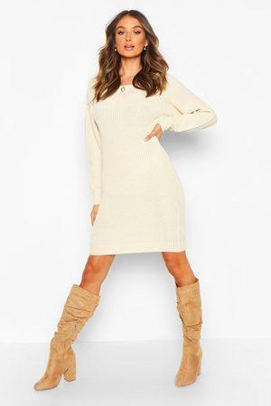 Boohoo Slash Neck Fisherman sweater Dress