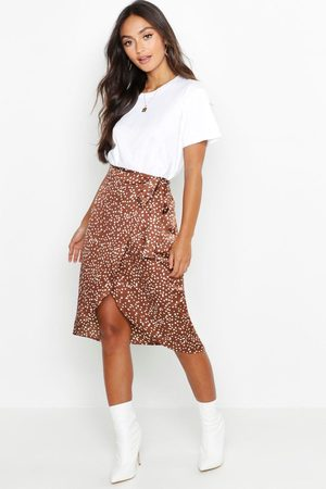 Boohoo Dames Geprinte rokken - Petite Printed Satin Wrap Skirt