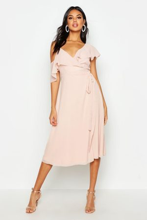 Boohoo Chiffon Cold Shoulder Wrap Midi Skater Dress