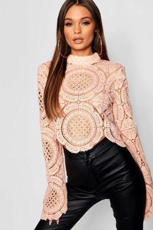 Boohoo Turtle Neck Crochet Lace Crop
