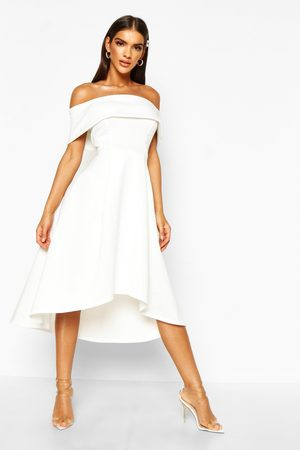 Boohoo Dames Korte jurken - Skaterjurk Met Afhangende Zoom En Blote Schouder