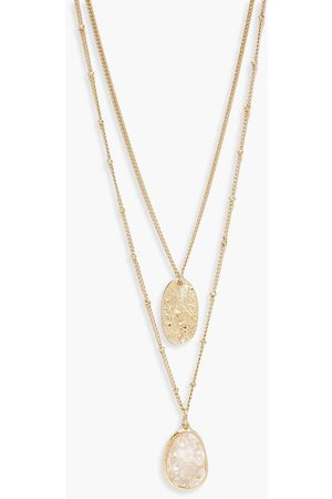 Boohoo Textured Coin & Iridescent Layered Necklace