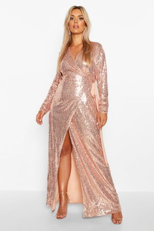 boohoo Dames Lange jurken - Plus Lange Maxi Jurk Met Pailletten, Rosé