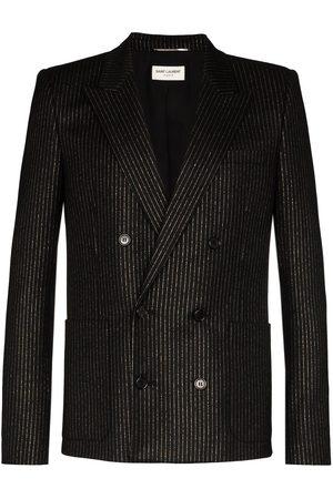 Saint Laurent Metallic pinstripe double-breasted blazer