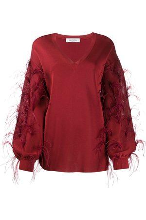VALENTINO Ostrich feather embellished V-neck jumper