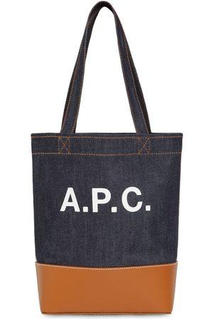 A.P.C Sm Logo Printed Denim & Leather Tote Bag