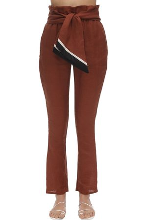 JOHANNA ORTIZ High Waist Straight Linen Pants