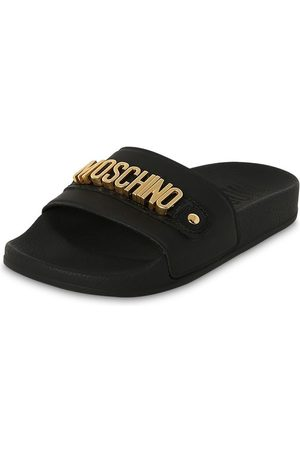 Moschino Logoed Rubber & Leather Slide Sandals