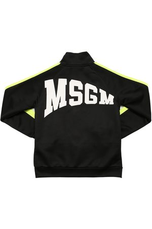 Msgm Zip Logo Printed Cotton Blend Sweatshirt