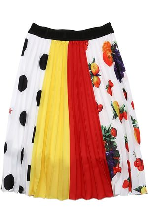 Msgm Pleated Print Crepe De Chine Skirt