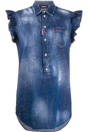 Dsquared2 Frilled sleeveless denim dress