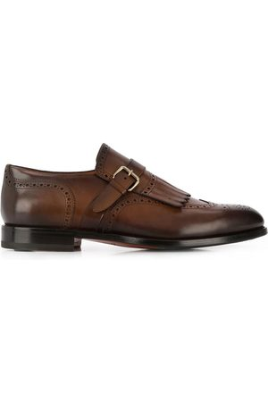 santoni Perforated single-buckle monk shoes