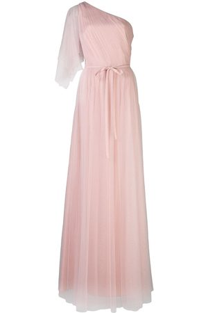 Marchesa Notte Bridesmaids One shoulder flutter dress