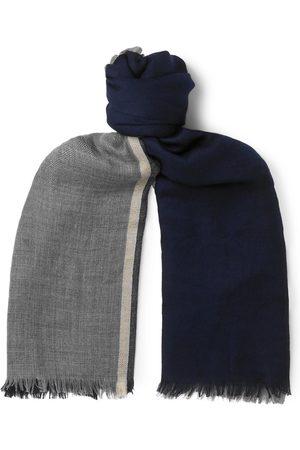 Brunello Cucinelli Fringed Striped Cashmere And Silk-blend Scarf