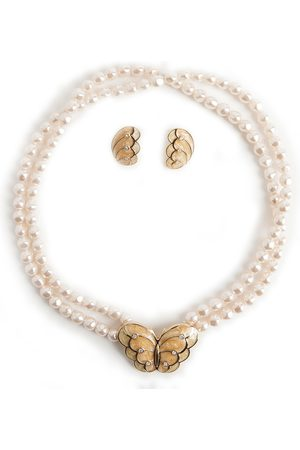 Kenneth Jay Lane Pearled butterfly set