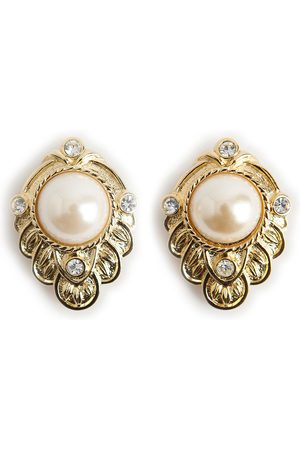 Kenneth Jay Lane Pearl and crystal earrings
