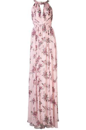 Marchesa Notte Bridesmaids Halterneck floral print dress