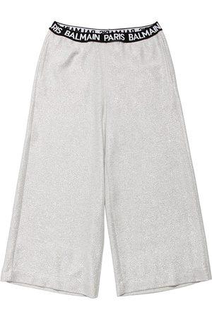 Balmain Logoed Lurex Culotte Pants