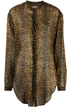 Saint Laurent Dames T-shirts - Leopard-print wool shirt