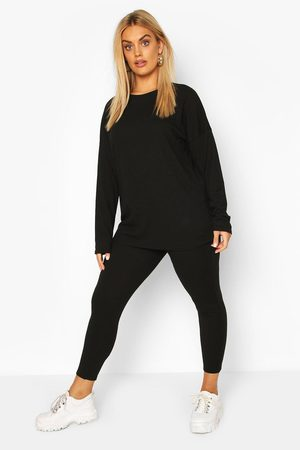 boohoo Outfit sets - Plus Oversized Rib Top & Legging Co-ord