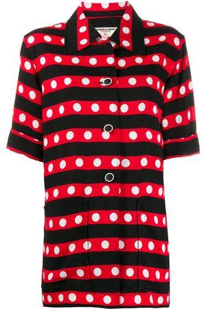 Yves Saint Laurent 1970s striped polka dot shirt