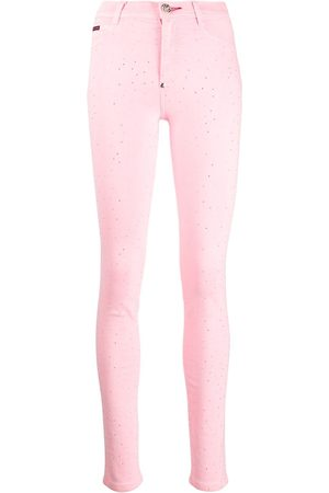 Philipp Plein Dames Leggings & treggings - High-rise crystal-embellished jeggings