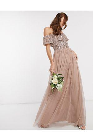 Maya Dames Lange jurken - Bridesmaid bardot maxi tulle dress with tonal delicate sequins in taupe blush-Brown