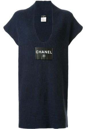 Chanel Pre-Owned Logo patch knitted dress