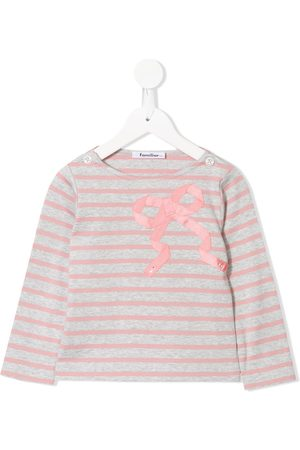 Familiar Long sleeve appliqué bow T-shirt